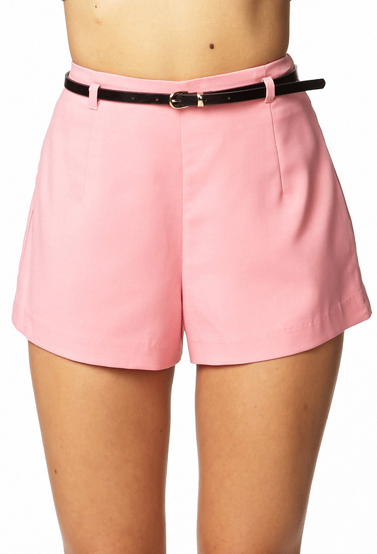 b17677c4f8 Forever 21 High-Waisted Shorts W/ Belt in Pink - Lyst