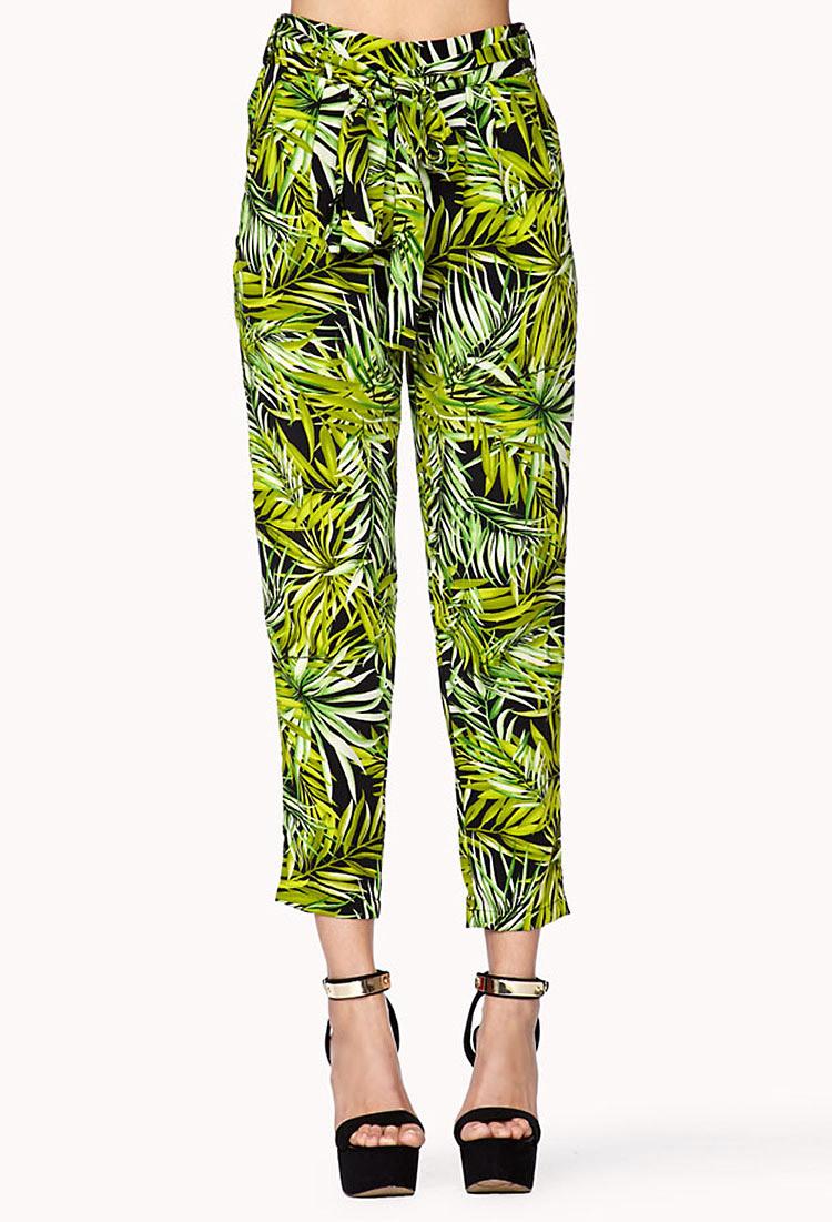 Forever 21 Tropical Print Harem Pants in Black (green ...