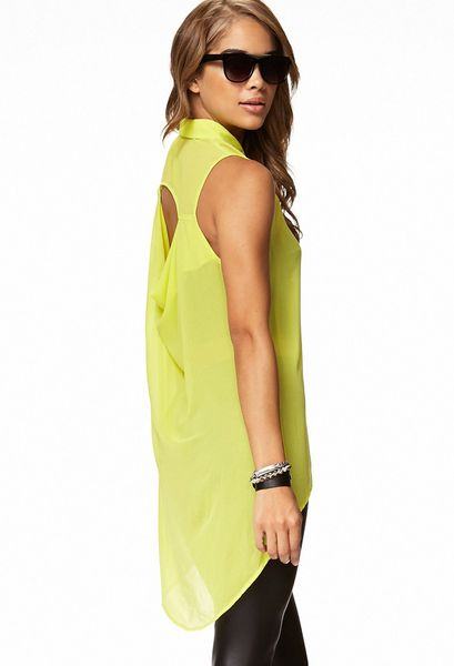 High Low Shirts Forever 21 Cutout Back High-low Shirt