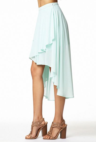 forever 21 tiered high low skirt in green mint lyst