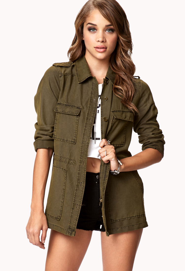 6518325b520d Forever 21 Utility Jacket In Green