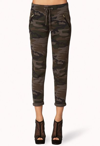 3678b7524440f Forever 21 Drawstring Camo Pants in Multicolor (Olivebrown) | Lyst