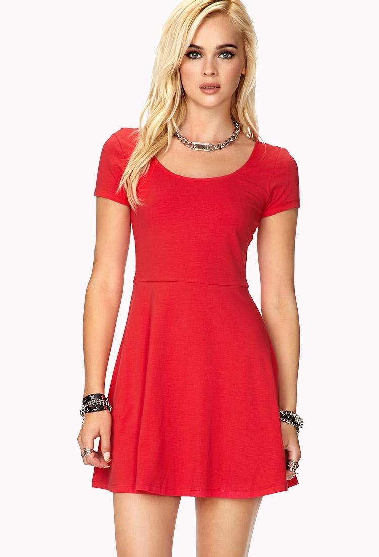 c68562854fd5 Lyst - Forever 21 Short Sleeve Skater Dress in Red