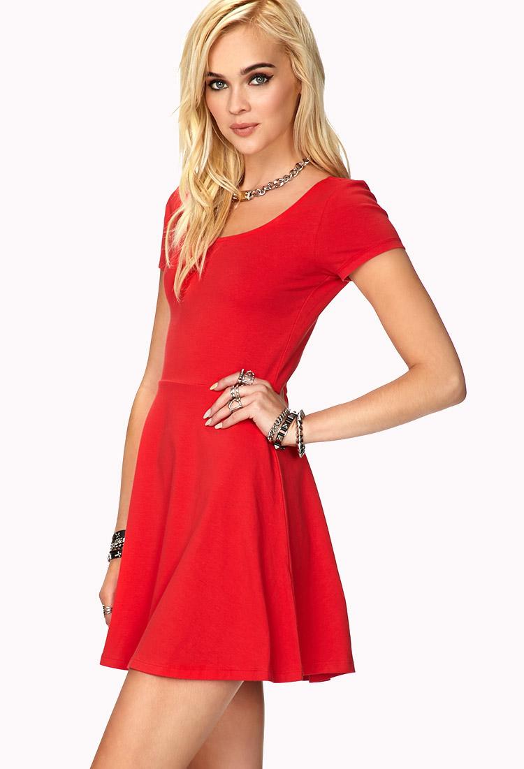 Lyst - Forever 21 Short Sleeve Skater Dress in Red a10f6ec27