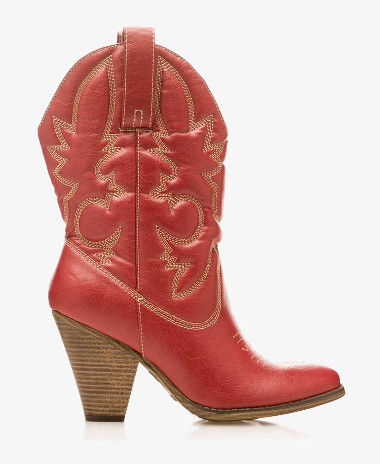 Lyst Forever 21 Western High Heel Boots In Red