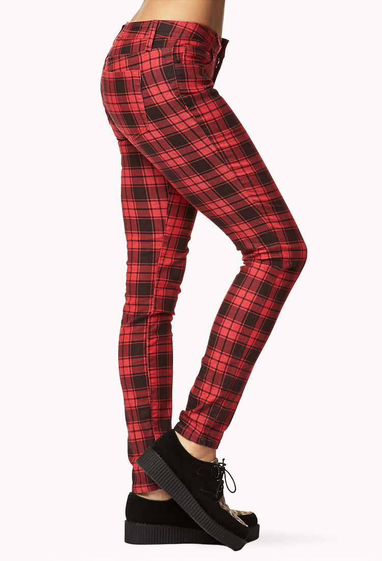 ffa6f2ea1238 Forever 21 Grunge Plaid Skinny Pants in Red - Lyst