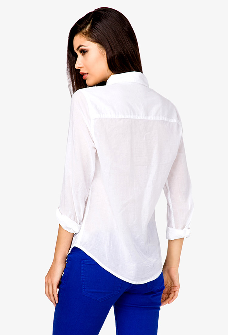 Forever 21 Classic Button Down Shirt in White | Lyst