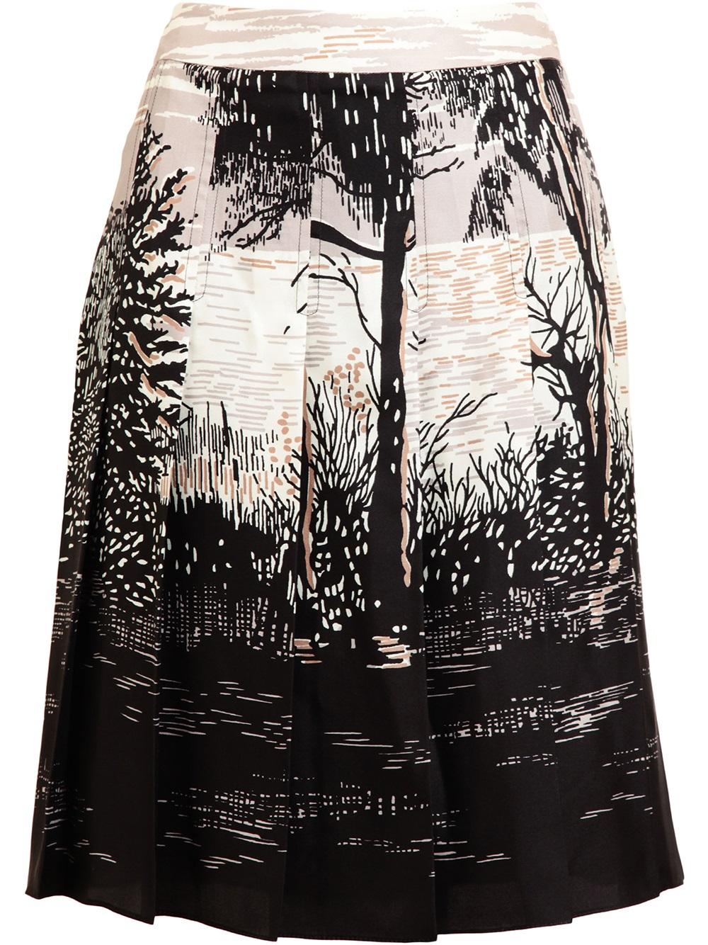 15db540394 Marni Tree Printed Silk Pleated Skirt in Black - Lyst