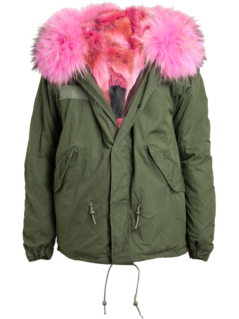 Mr Amp Mrs Italy Pink Fur Lined Parka Jacket In Green Lyst