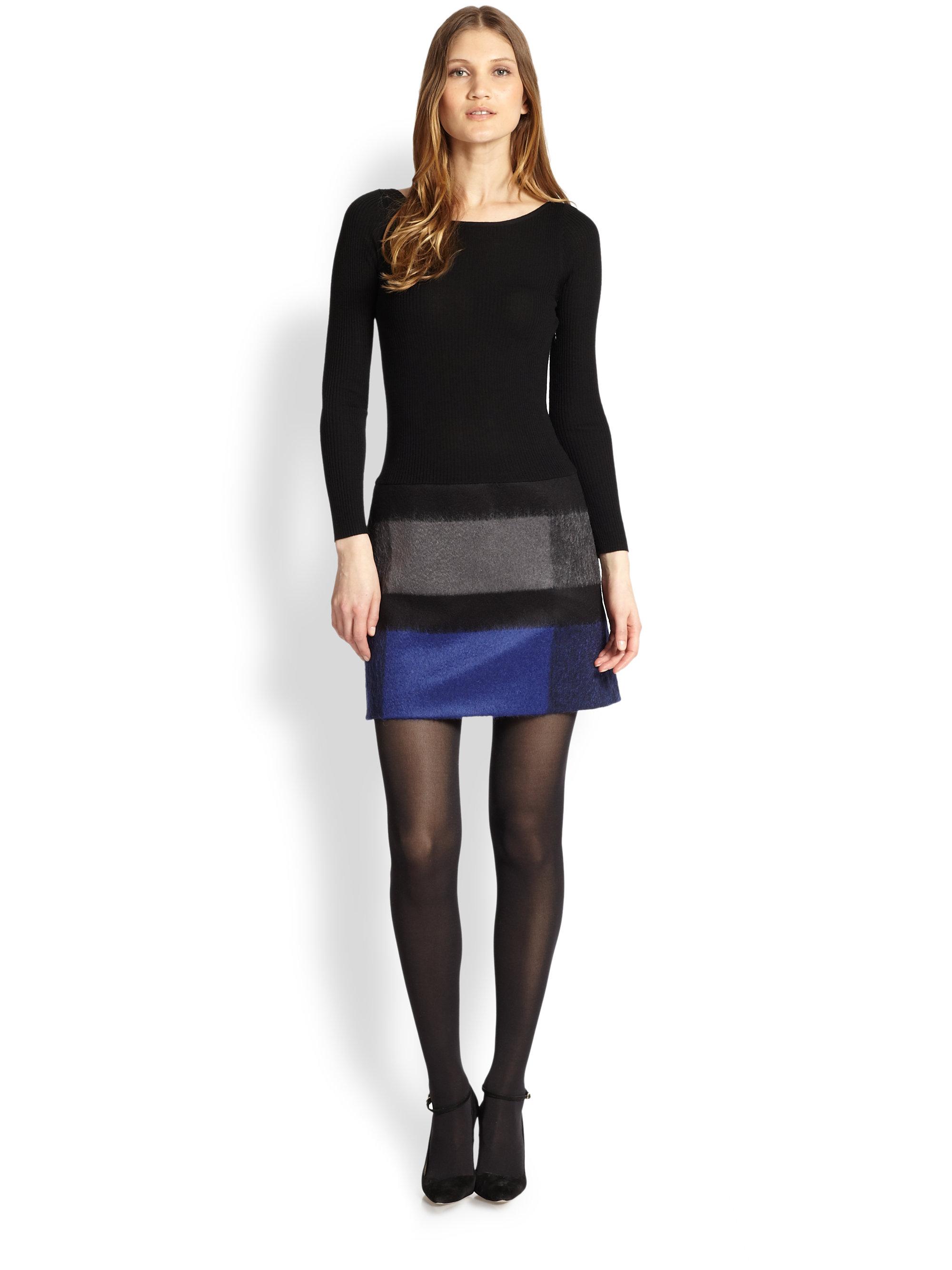 99f524a1caa Lyst - Paule Ka Knit Plaidskirt Dress in Black
