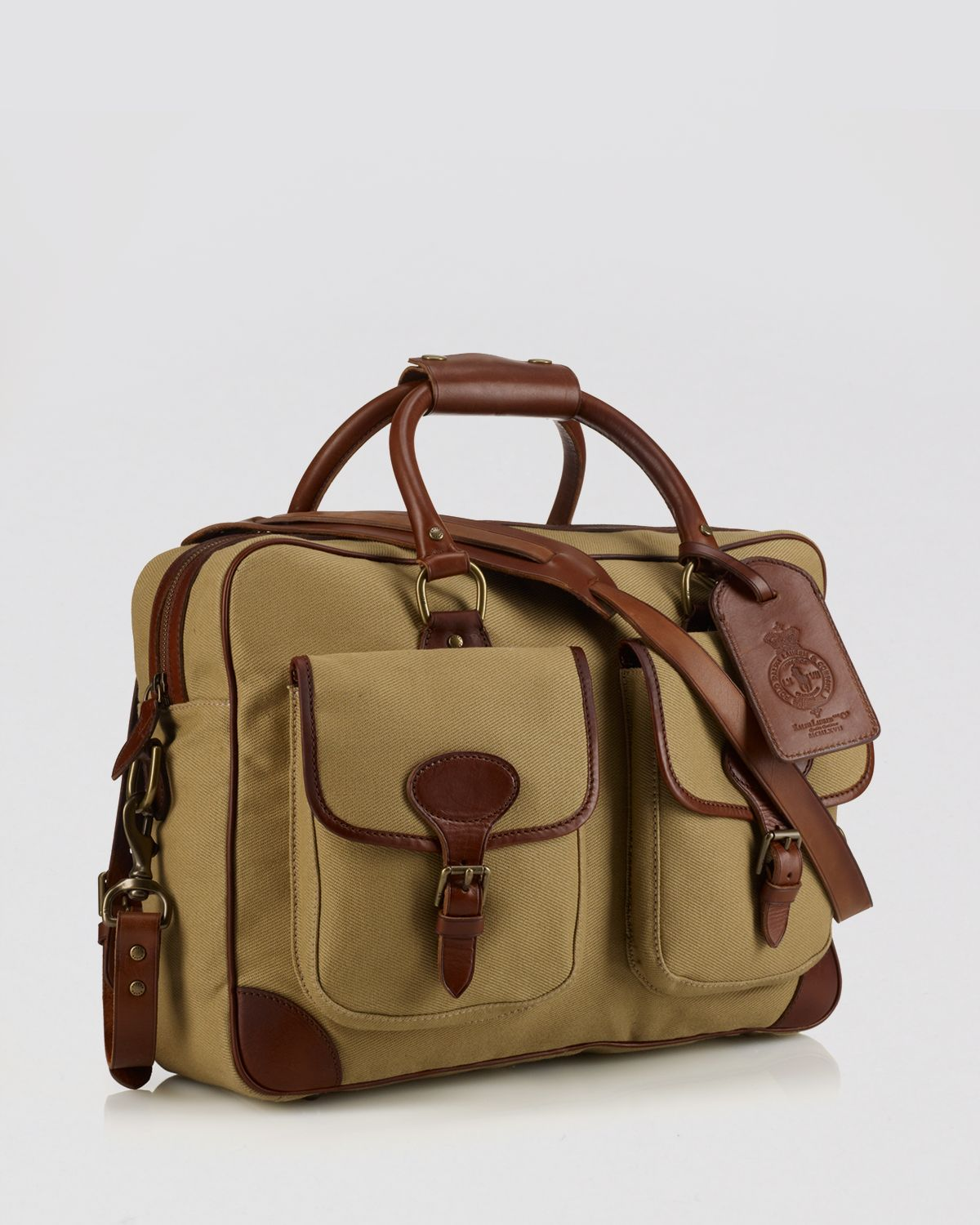 e3ca283ba5fd ... real lyst ralph lauren polo canvas leather commuter bag in natural  3a264 38031