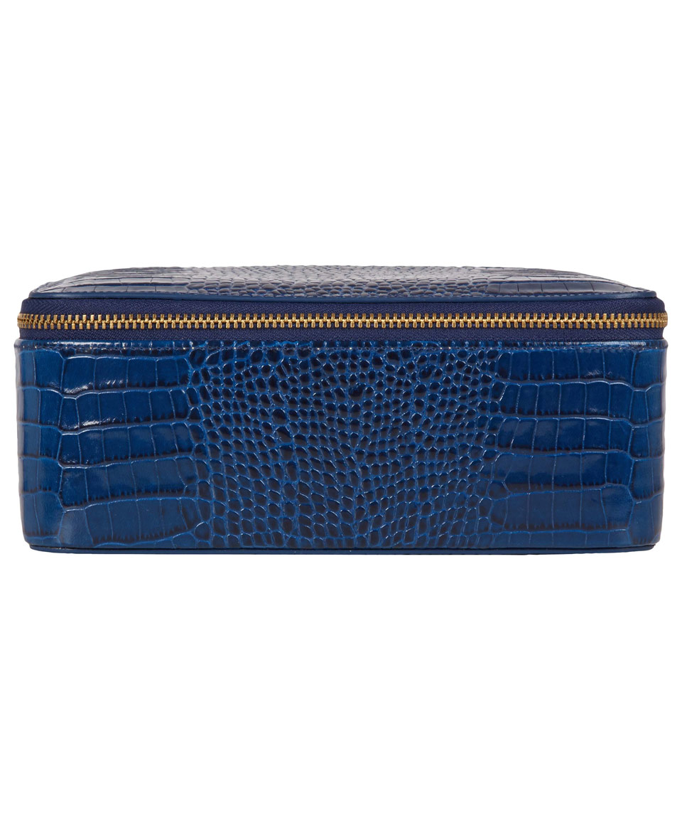 Smythson Blue Mara Croc Effect Jewellery Pouch in Blue