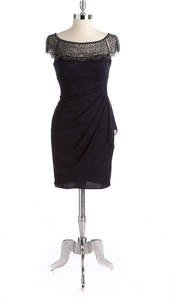 xscape beaded illusion cocktail dress in blue navy