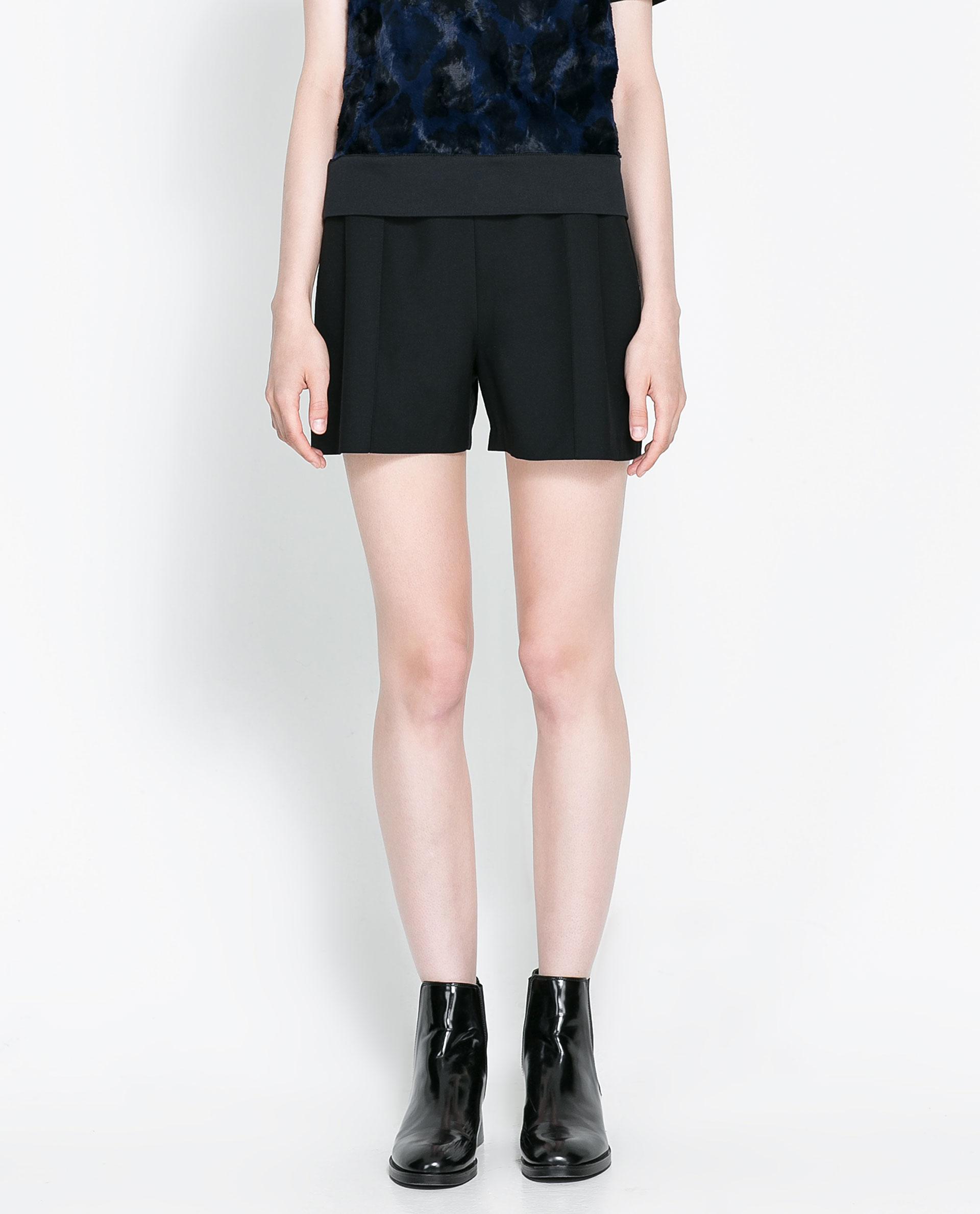 Zara High-waisted Bermuda Shorts in Black | Lyst