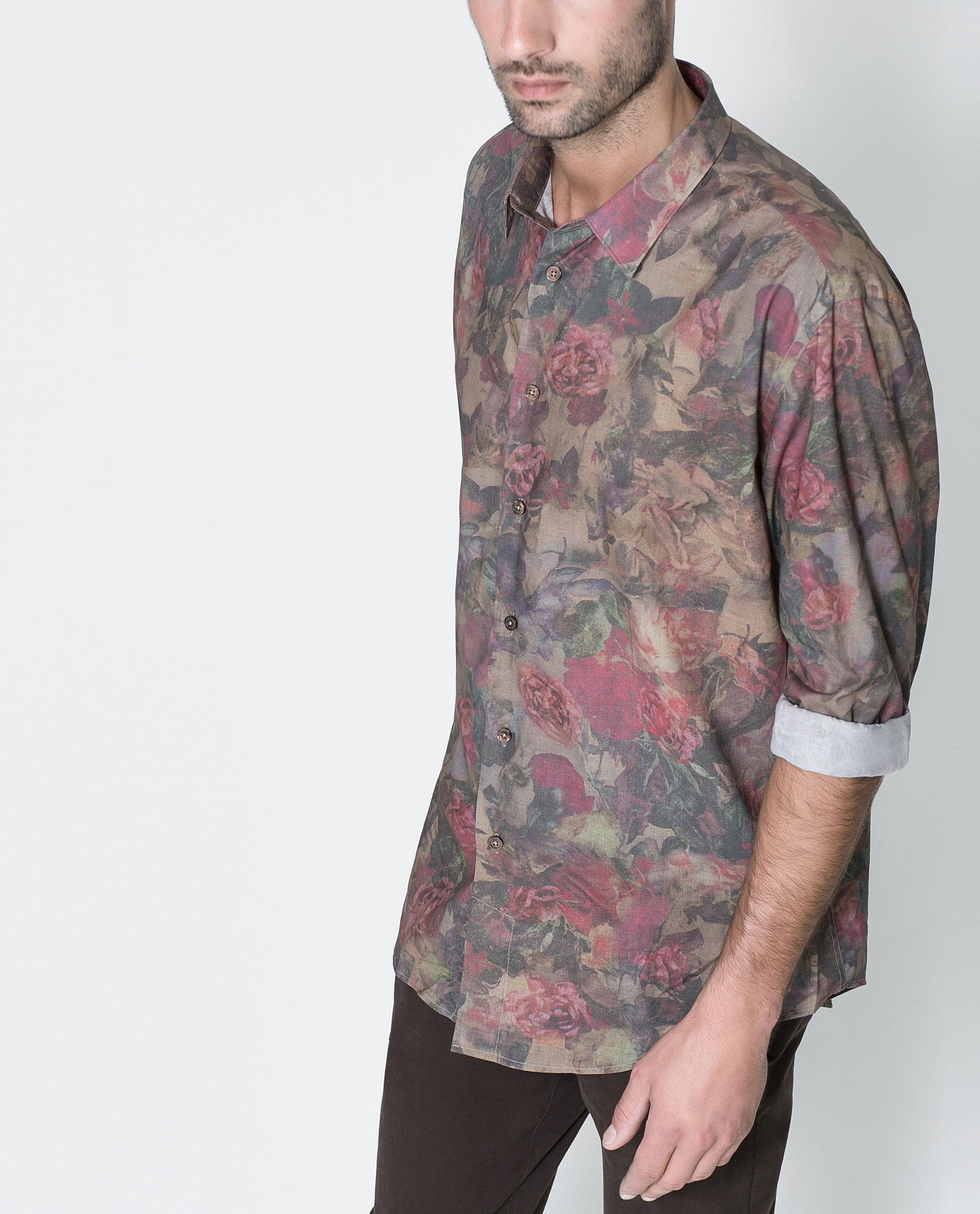 Zara floral print shirt for men lyst for Zara mens floral shirt
