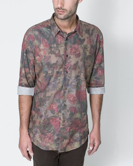 Zara floral print shirt in multicolor for men khaki lyst for Zara mens floral shirt