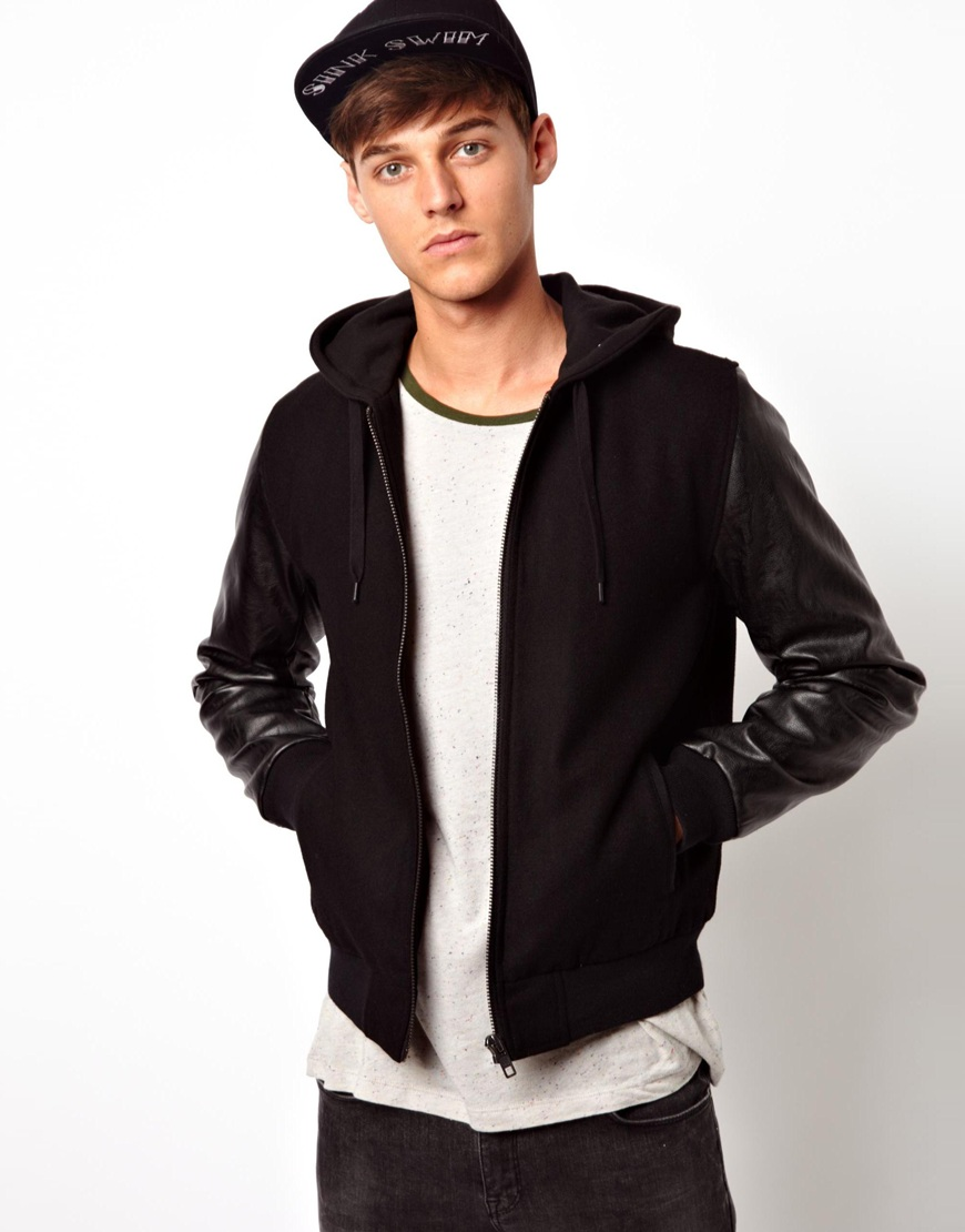 Asos Asos Hooded Bomber Jacket with Faux Leather Sleeves in Black ...