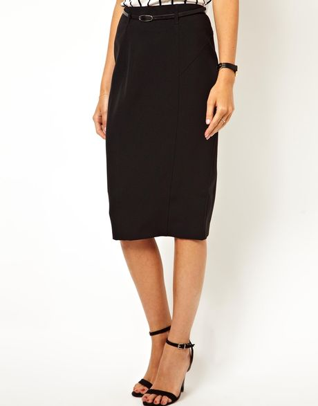 asos asos belted pencil skirt in longer length in