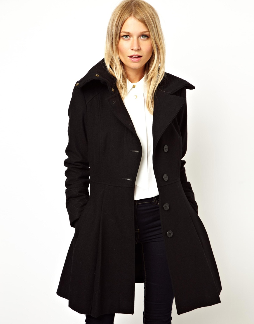 Asos Skater Coat With Rib Collar in Blue | Lyst