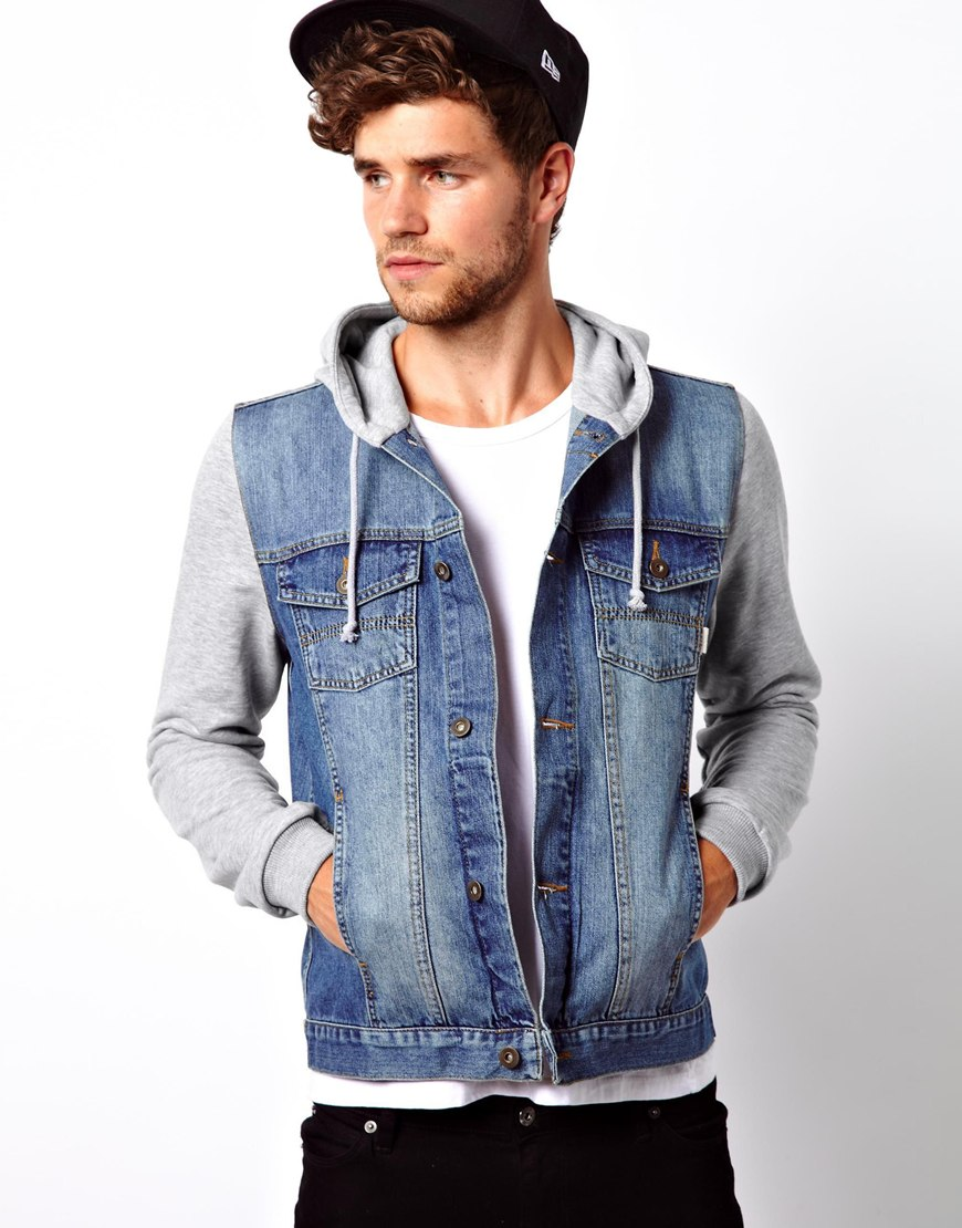 Asos Denim Jacket With Jersey Sleeves in Blue for Men | Lyst