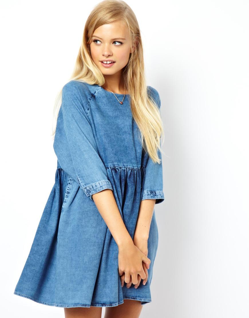 Lyst Asos Denim Smock Dress In Mid Wash In Blue