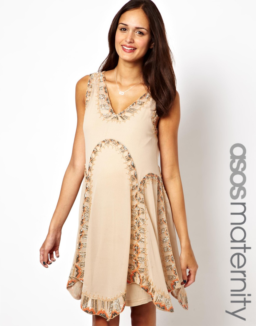Lyst - Asos Asos Maternity Flapper Dress with Embellishment in Natural