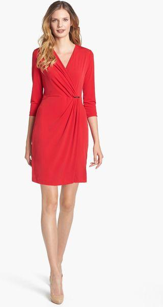 Calvin Klein Jersey Faux Wrap Dress In Red Lyst