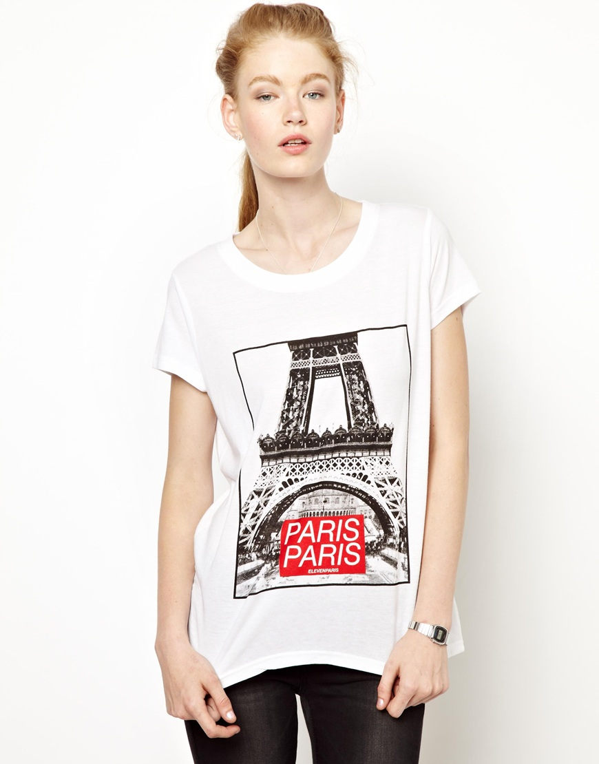 eleven paris eiffel tower tee in white lyst. Black Bedroom Furniture Sets. Home Design Ideas