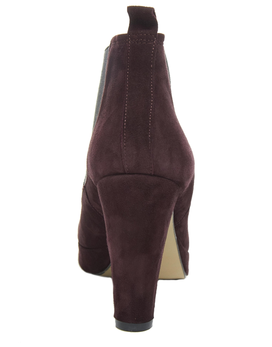 359ee741e7e Ganni Fiona Suede Heeled Chelsea Boot in Brown - Lyst