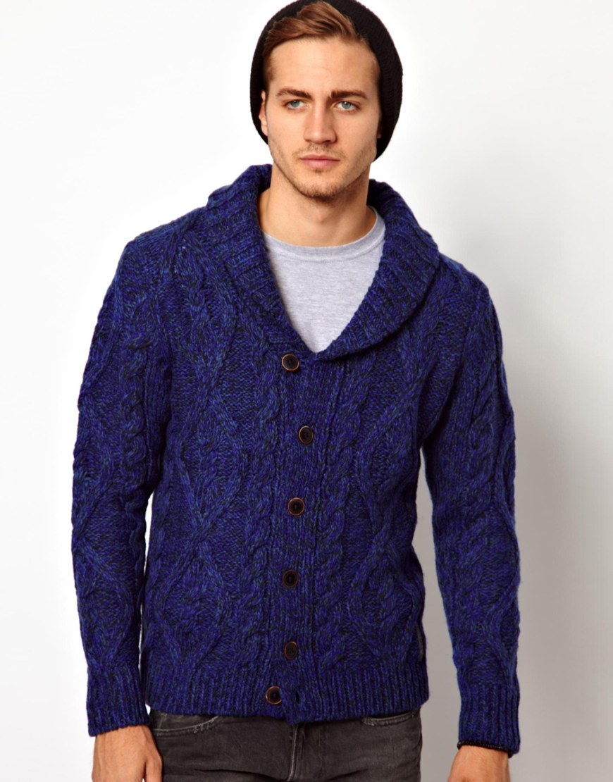 Replay Cardigan Cable Shawl Knit in Blue for Men | Lyst