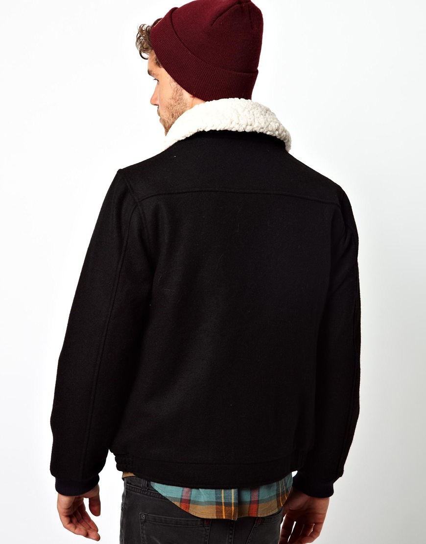 Lyst Rvca Rvca Wool Jacket With Borg Collar In Black For Men