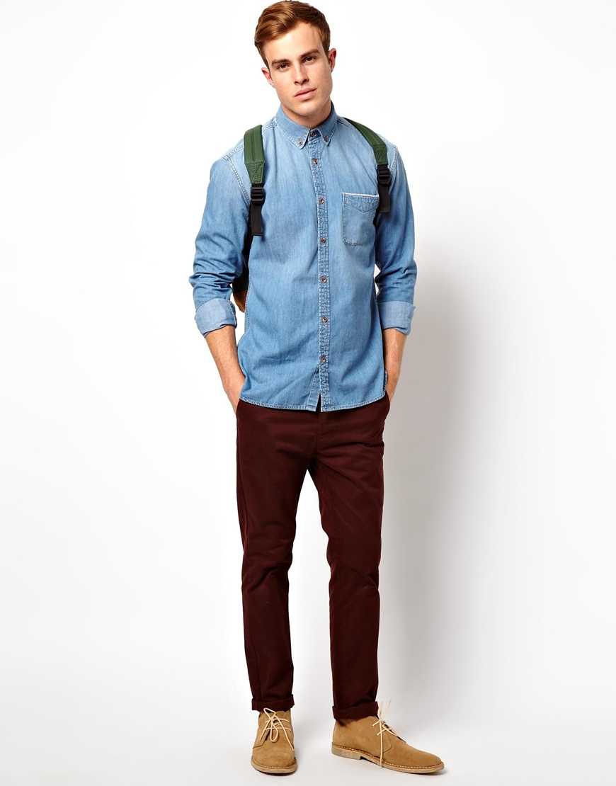 Lyst Asos Selected Light Washed Denim Shirt With Horn