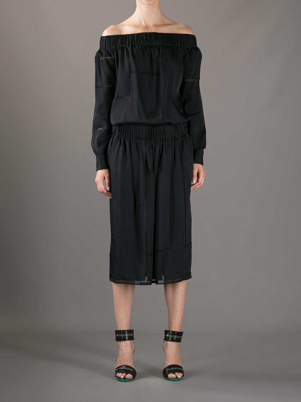 off-the-shoulder belted dress - Black Stella McCartney jmU6R2sk
