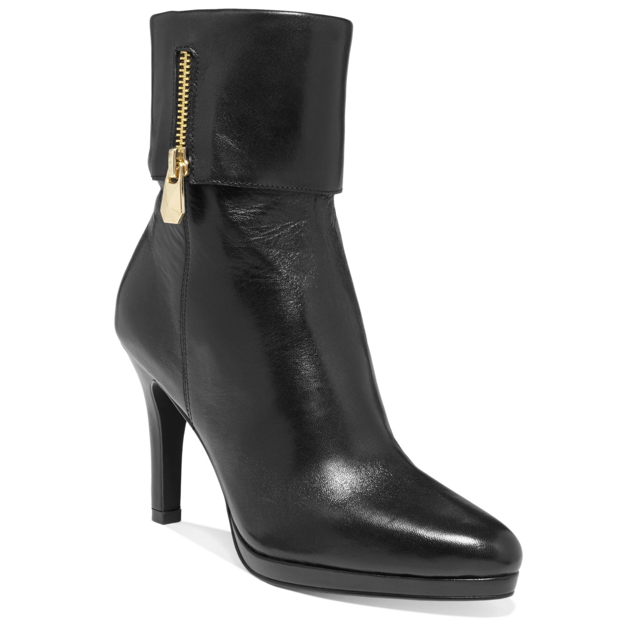 tahari gabe dress booties in black black leather lyst