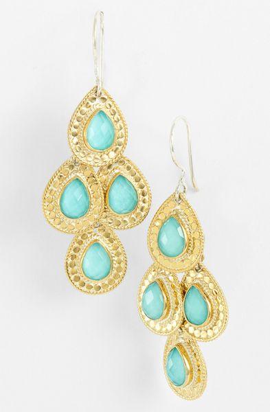 Anna Beck Gili Teardrop Chandelier Earrings In Green Gold
