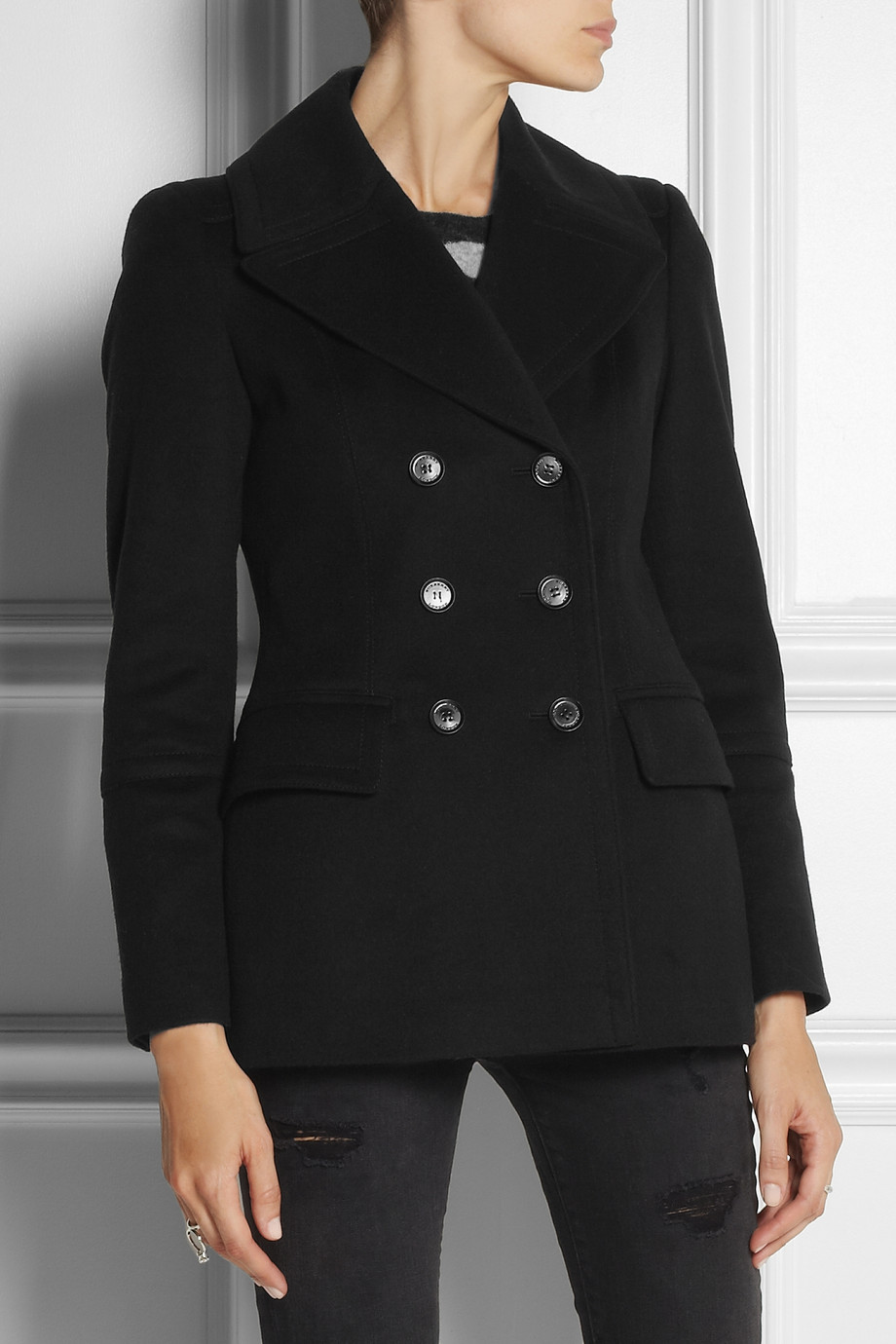 Burberry Double-breasted Wool and Cashmere-blend Pea-coat in Black