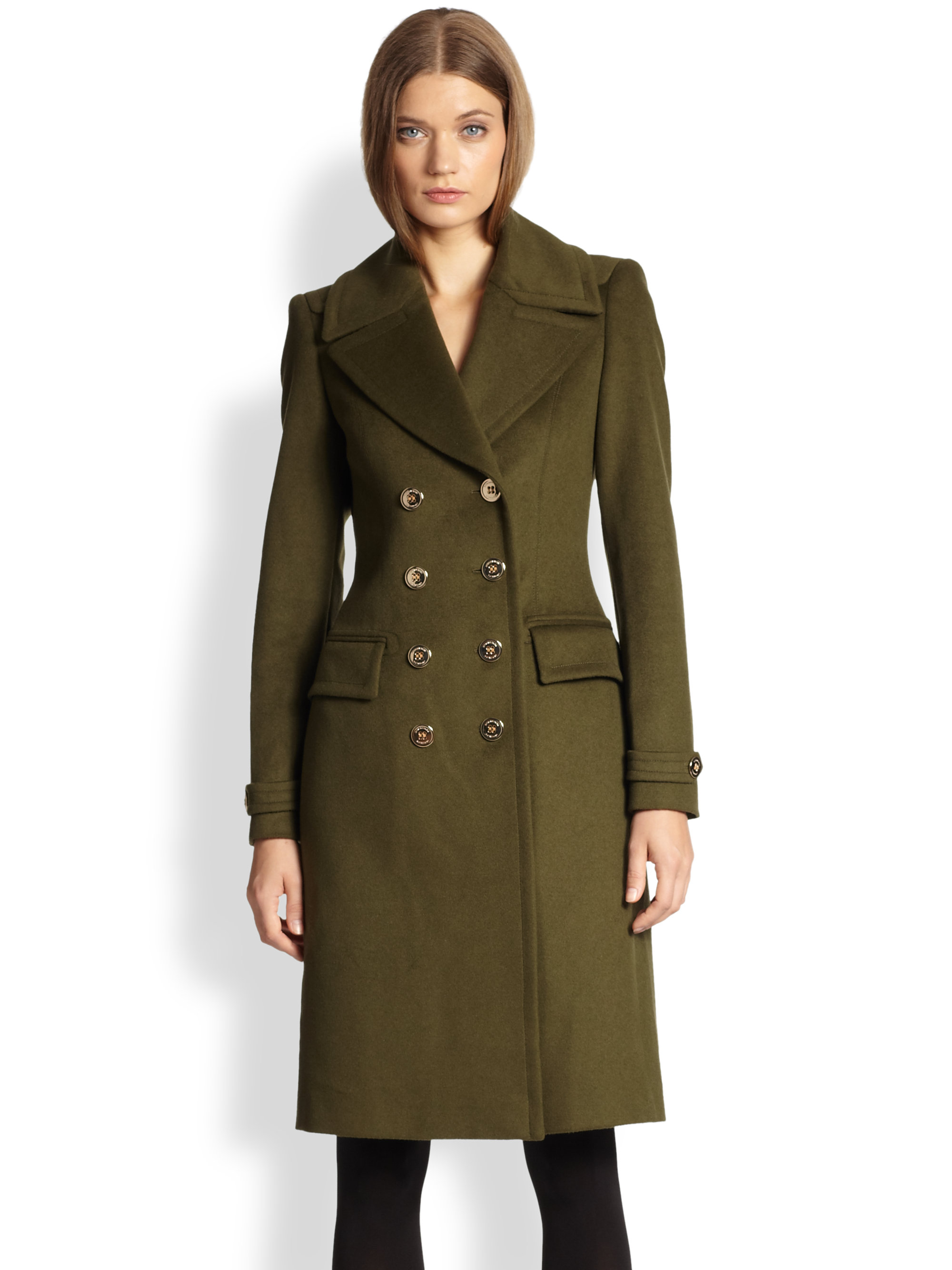 Burberry Doublebreasted Wool Cashmere Military Coat in Green | Lyst