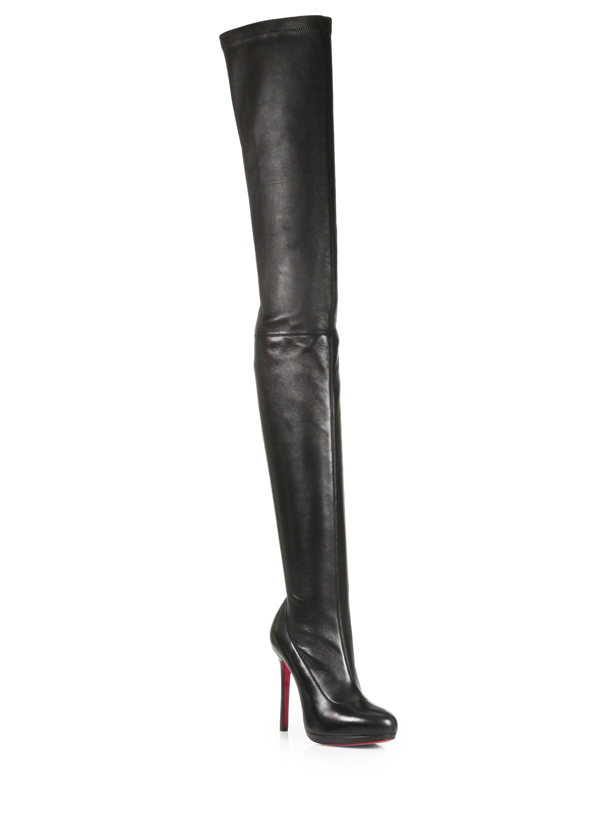 Christian louboutin Louise Stretch Leather Thigh-high Boots in ...