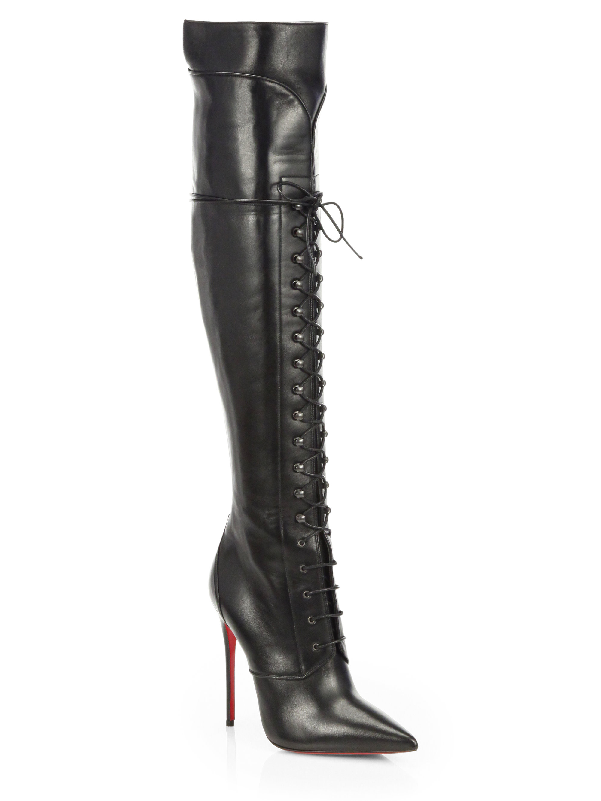 f20e2365297 Lyst - Christian Louboutin Mado Leather Lace-up Over the knee Boots ...