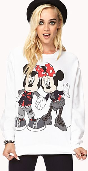 21 Mickey Mouse Nail Art Designs Ideas: Forever 21 Mickey Minnie Mouse Sweatshirt In White (WHITE