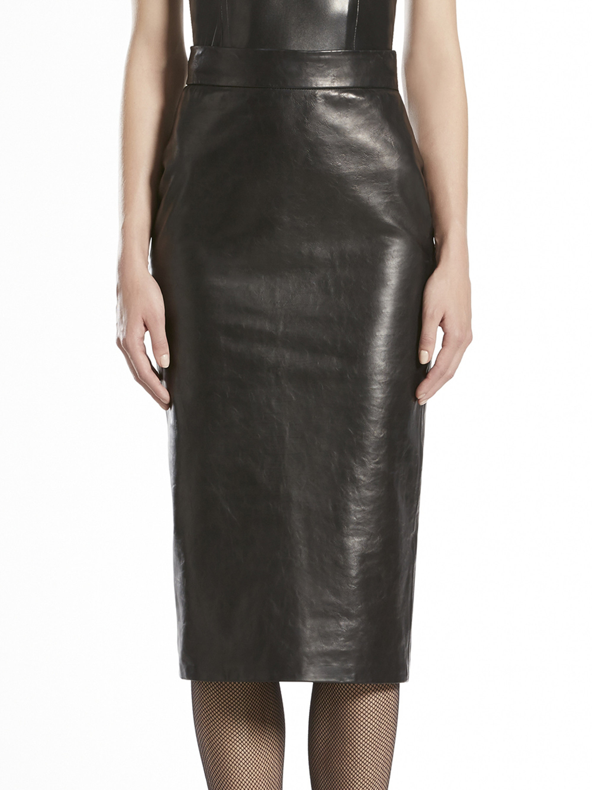 gucci shiny leather pencil skirt in black lyst