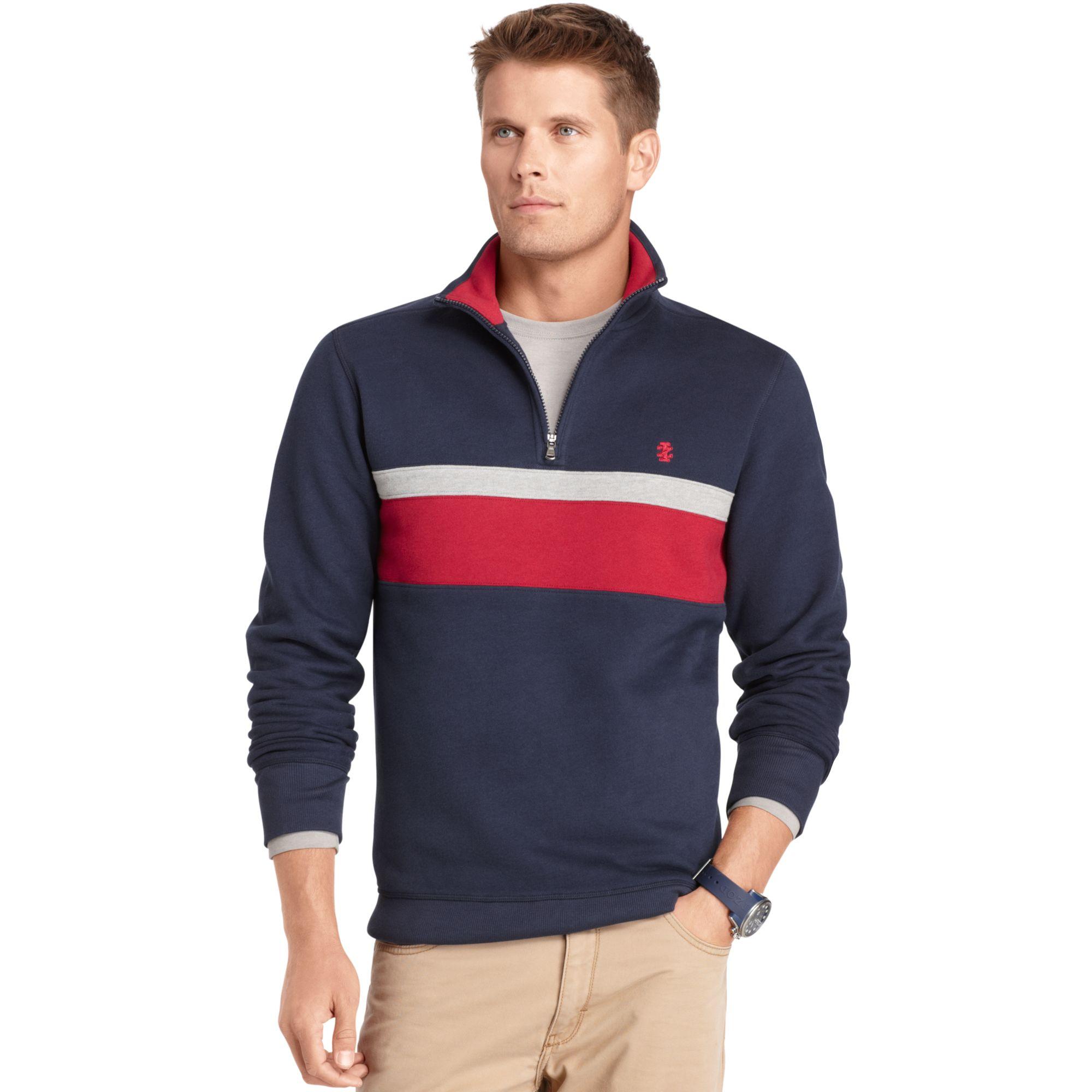 Izod Izod Sweater Quarter Zip Chest Stripe Sueded Fleece Pullover ...