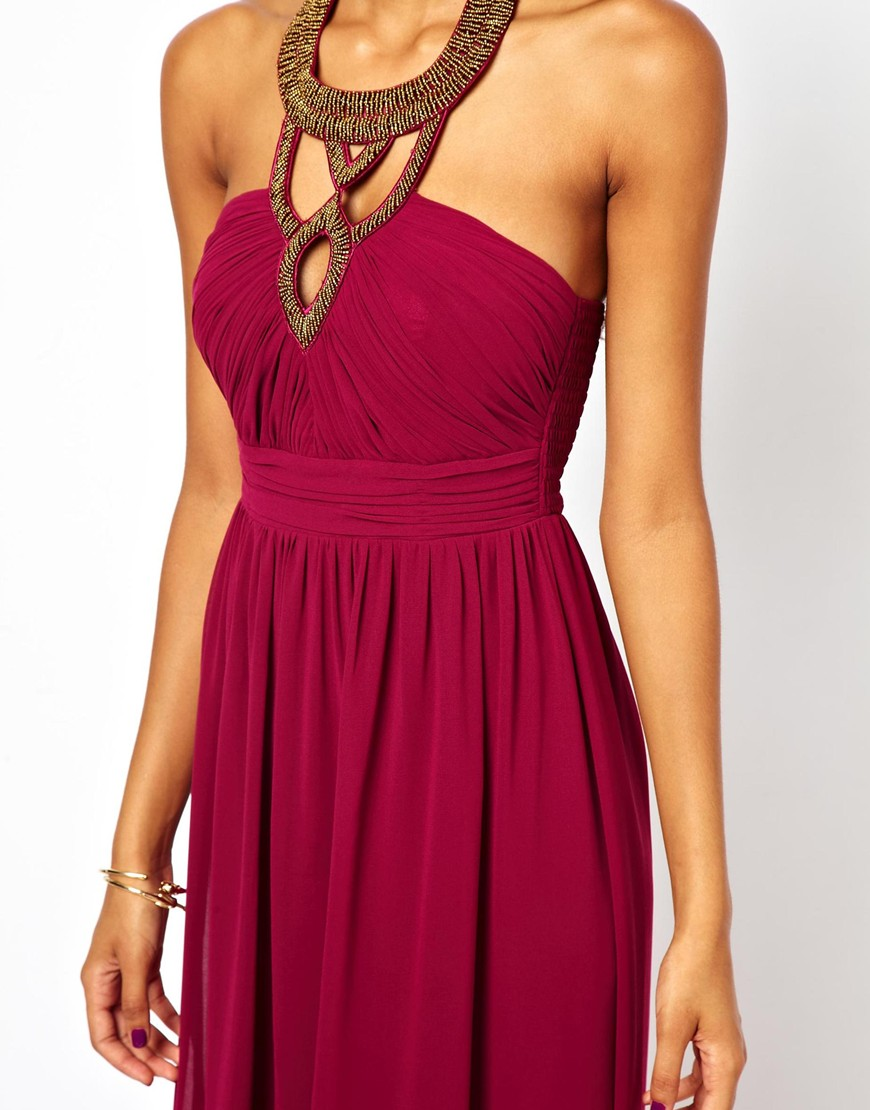 Little mistress Maxi Dress with Embellished Necklace in ...