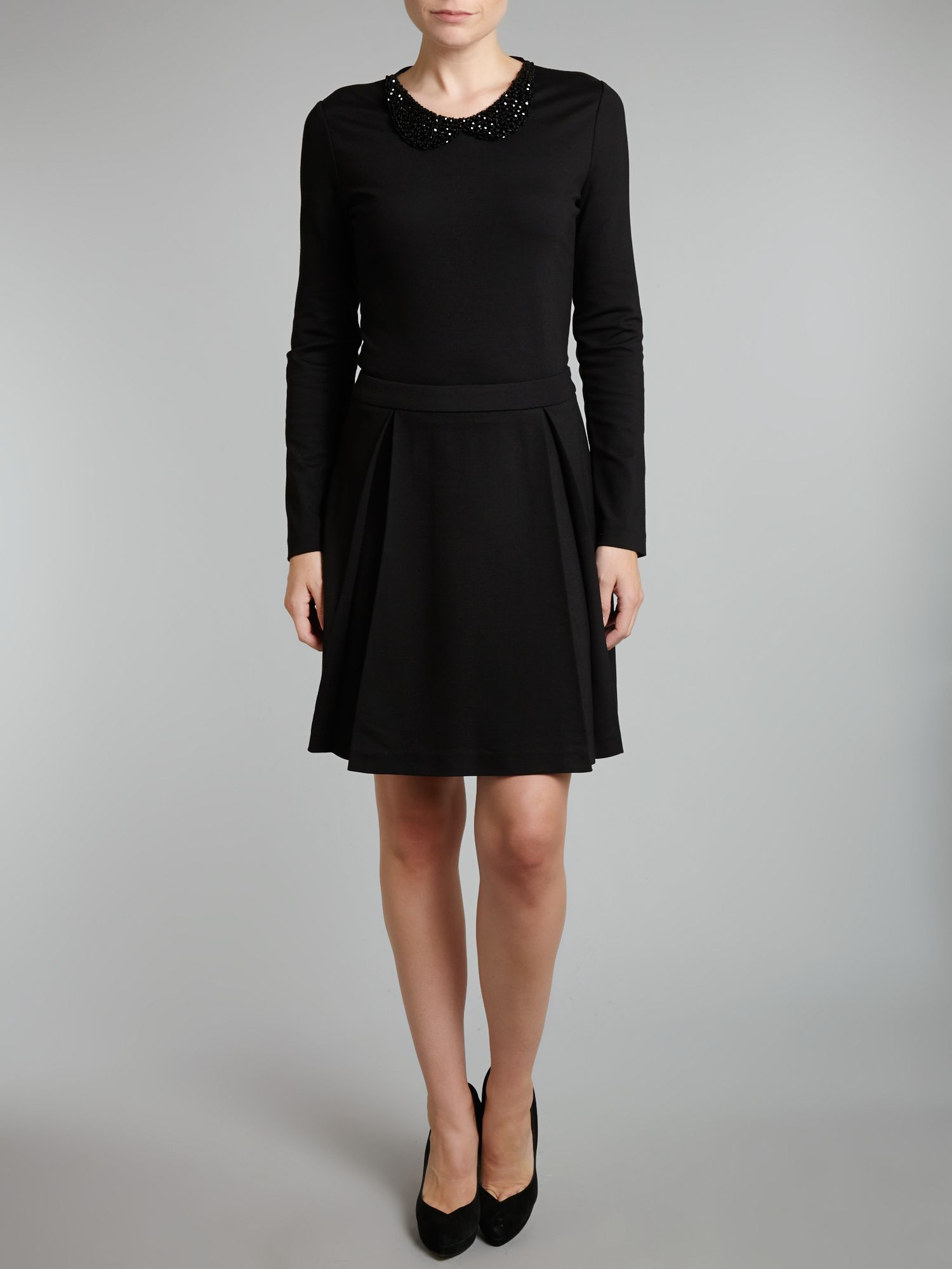 moschino sleeve skater dress with necklace in