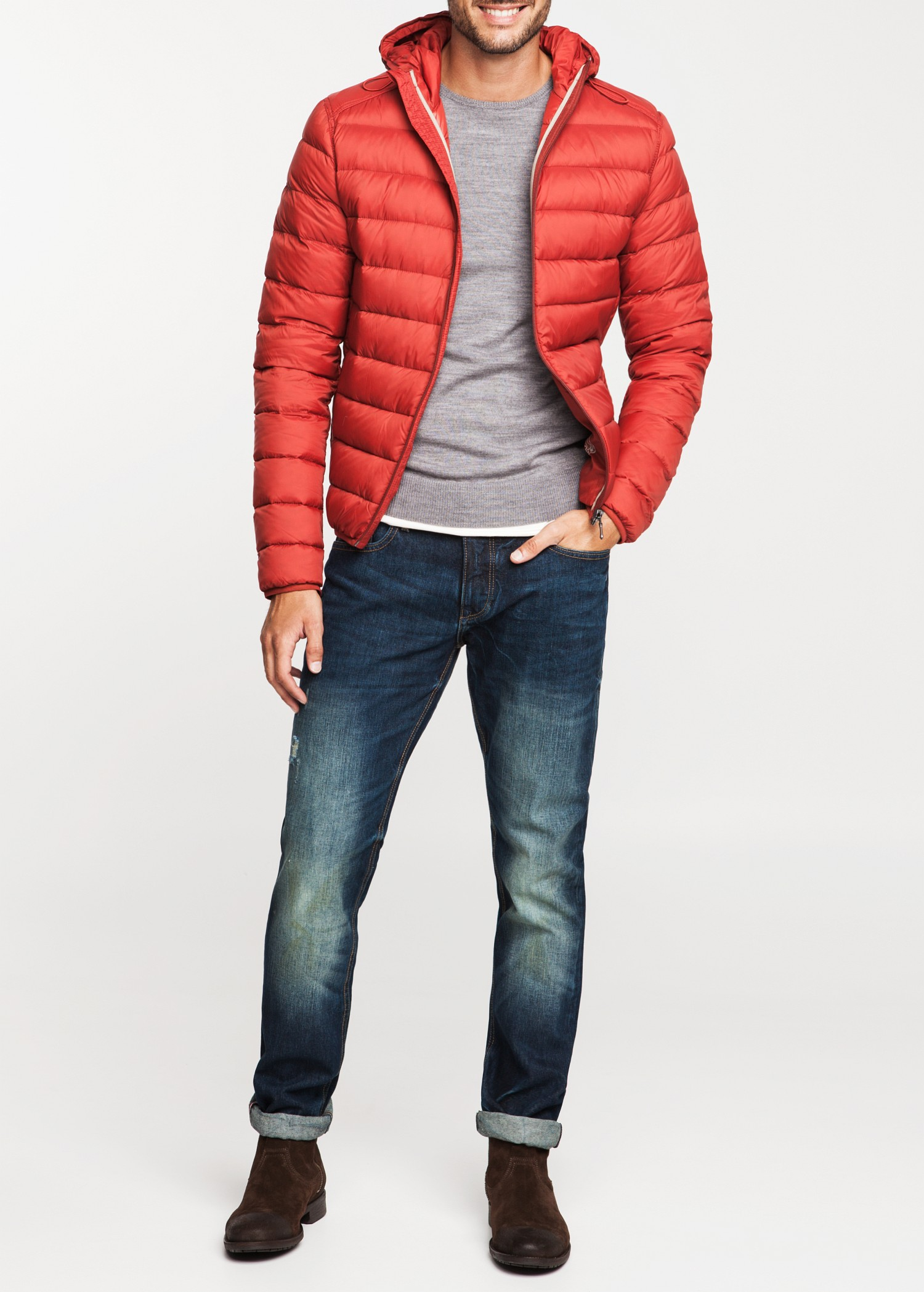 Mango Foldable Down Feather Coat In Red For Men Lyst