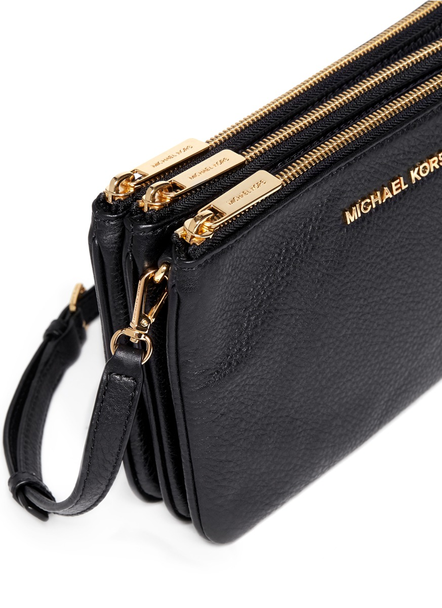 Lyst - Michael Kors Bedford Gusset Leather Cross-body Bag in Black 6df8fed3c2adf