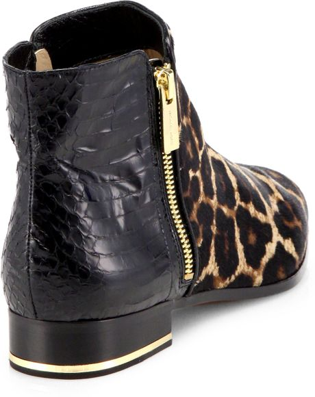Michael Kors Cindra Leopard Print Calf Hair Snake Skin
