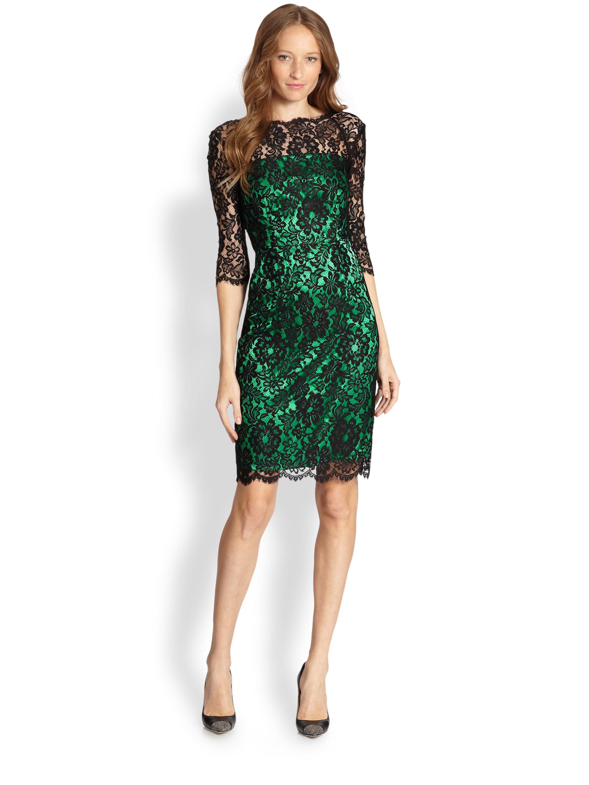 Milly Stella Lace Vback Dress In Black Black Emerald Lyst