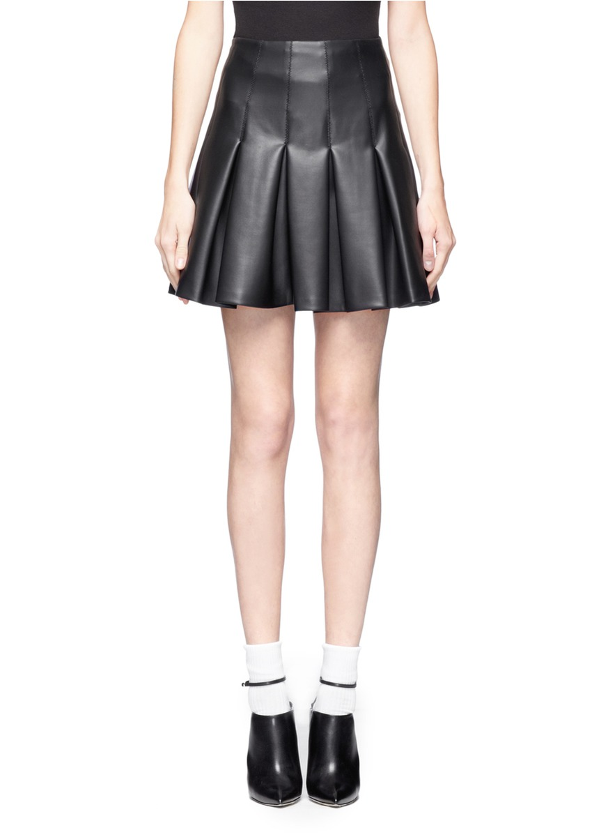 msgm faux leather flared skirt in black lyst