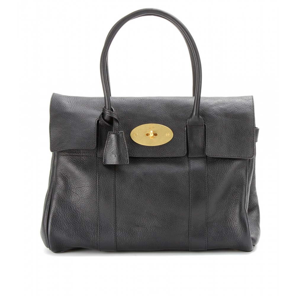 Mulberry bayswater leather tote in black black brass lyst for The bayswater